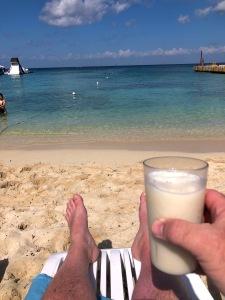 David David Brodosi sitting in the beach in Cozumel Mexico