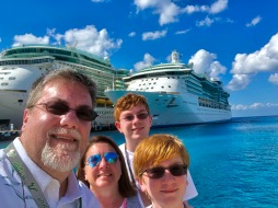 David Brodosi and Family standing by ship in Cozumel