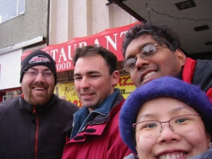 David Brodosi and friends in downtown Alaska