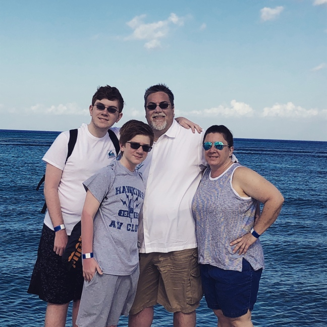 David Brodosi and family on the beach in Mexico
