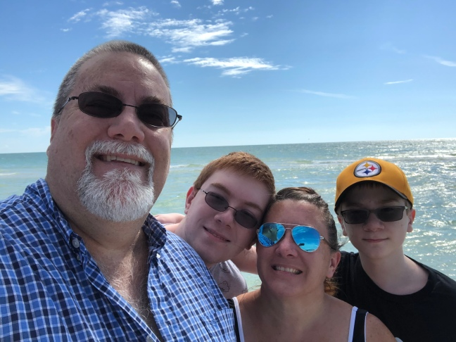 David Brodosi and family travel to the beach.