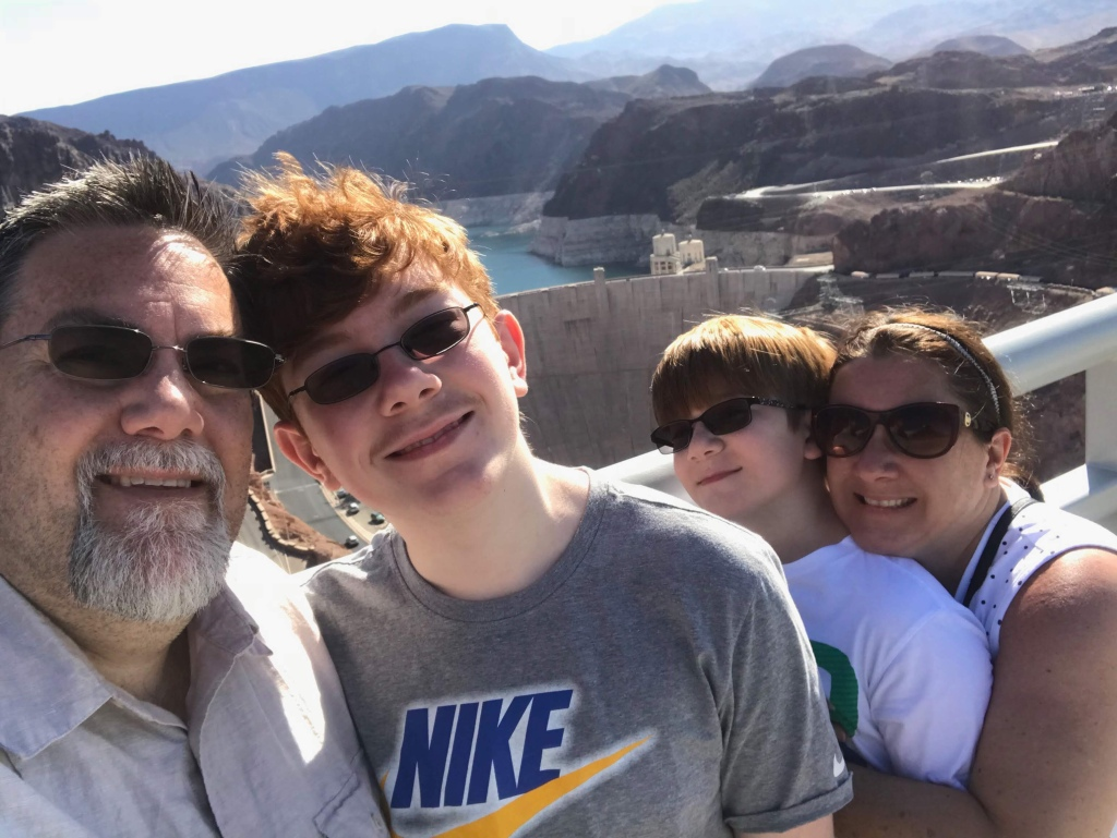 A photo of David Brodosi and family at the Hoover dam