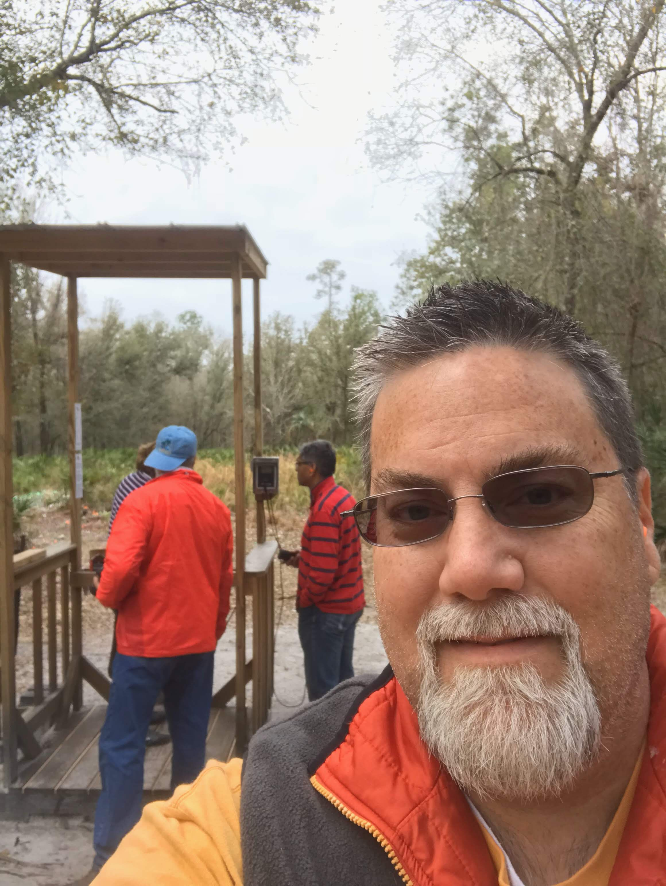 A photo of David Brodosi and his friends skeet shooting