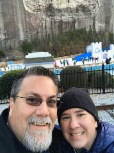 A photo of David Brodosi and his wife Nancy outside enjoying the snow